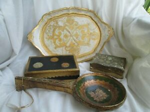 Vintage Florentine Gold Tole Tray With Handles 2 Boxes Decor