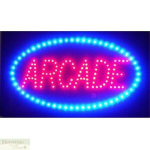 Arcade Motion Led Sign 26 Lights Hang Wall Window Indoor Game Room Warranty New