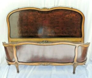 7202 French Antique Carved Wood Full Size Bed Headboard Sideboard Footboard