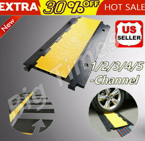 1 2 3 4 5 Channel Rubber Electrical Wire Cable Protectors Cover Ramp Guard