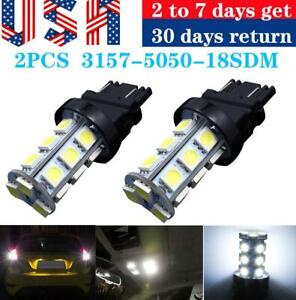 2x Pure White 3157 5050 3156 18smd Tail Brake Parking Turn Signal Led Light Bulb