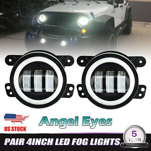 4 Inch Led Fog Lights Halo Ring Angel Eyes With Drl For Jeep Wrangler Jk Tj Lj
