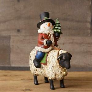 Primitive Country Snowman Riding Sheep Figurine Wit Glittery Hat And Tree