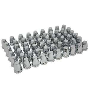 60x Chrome Abs Threaded Lug Nut Covers With Flange 33mm And 32mm Trucks Trailers