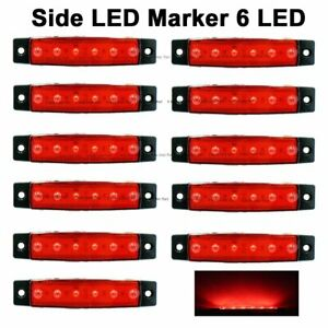10x 12v Dc 6led Side Red Marker Indicator Light Truck Trailer Lorry Clearence