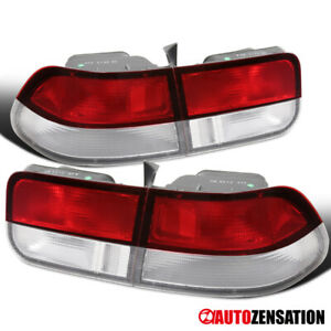 Fit 96 00 Honda Civic 2dr Coupe Chrome Red Clear Rear Tail Brake Lights