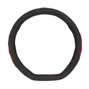 38cm 15 Oval Leather Car Steering Wheel Cover Anti slip Protector Black Red