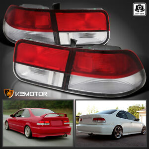 For 1996 2000 Civic 2dr Coupe Red Clear Rear Tail Lights Brake Lamps Left Right