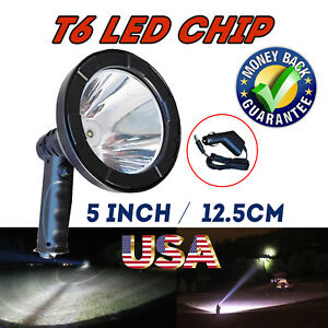 Led Spotlight Hand Held 195w 5 Rechargable Hunting Camping Work Offroad Spot