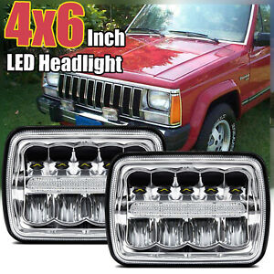 For 1990 2001 Jeep Cherokee Pair 4x6 Cree Led Headlights Drl Hi lo Beam Light