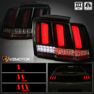 For 1999 2004 Ford Mustang Black Smoke Sequential Red Led Bar Brake Tail Lights