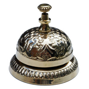 Antique Style Solid Brass Hotel Counter Desk Bell Ring For Service Call Bells