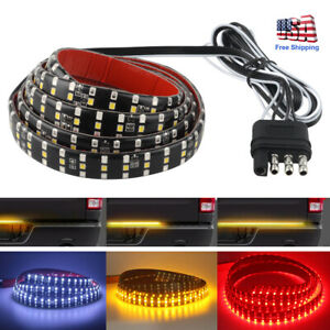 49 Truck Tailgate Strip Triple Led Sequential Turn Signal Brake Reverse Light