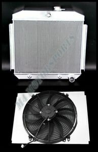 3 Row Aluminum Radiator Shroud 16 Fan For 55 57 Chevy Bel Air 6cyl L6 At Mt