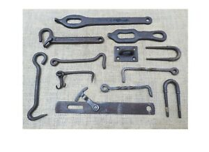 Antique Lot Gate Latch Hook Wrought Iron Steel Hooks Fence Blacksmith