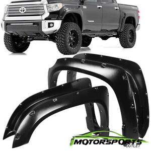 For 2014 2018 Toyota Tundra Pocket Style Black Rivet Textured Fender Flares