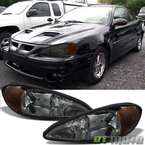 Smoked 1999 2005 Pontiac Grand Am Headlights Headlamp Replacement Set Left Right