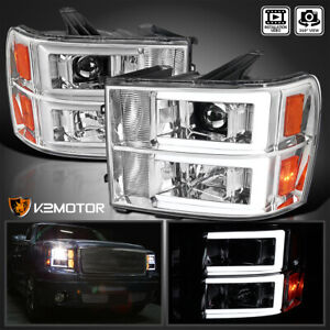 For 2007 2013 Gmc Sierra 1500 2500hd 3500hd Led Drl Tube Projector Headlights