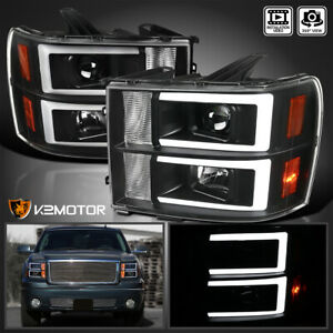 Fits Black 2007 2013 Gmc Sierra 1500 2500hd 3500hd Led Drl Projector Headlights