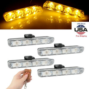 4in1 16 Led 16w Flash Strobe Warning Light Deck Dash Grill Remote Control Amber