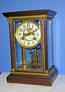 Antique Waterbury 8day Chime Clock Crystal Regulator Mahogany Top Open Esc Runs