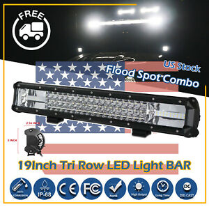 19inch 2520w Tri Row Cree Led Work Light Bar Flood Spot Combo Off Road Suv Atv