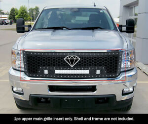 Fits 2011 2014 Chevy Silverado 2500 3500 Upper Stainless Black Mesh Led Grille