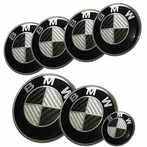 Bmw Complete Set 7x 2 82 4 68 45mm Carbon Fiber Black White Emblem Logo
