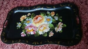 Vtg Metal Tray Hand Painted Toleware Floral 25 X 14 Serving Tray Table Top