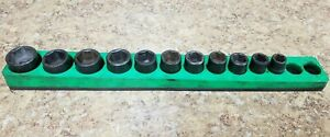 Mac Tool Xp6 3 8 Drive Shallow Impact Socket Set 10mm 22mm Pre Owned