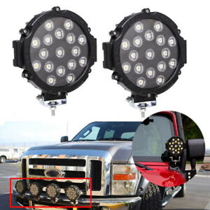 Pair 255w Round Led Light Pod 7inch Spot Work Off Road Roof Bar Bumper Driving