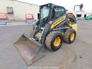 2011 New Holland L225 Skid Steer Wheel Loader Aux Hyd 2 spd Cab Bidadoo
