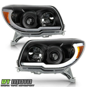 For 2006 2009 Toyota 4runner Black Led Tube Upgrade Style Projector Headlights