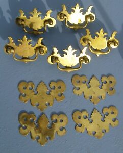 5 Antique Style Brass Bat Wing Chippendale Drawer Pulls 4 Plates