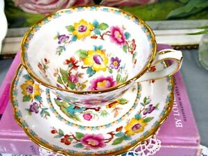 Hammersley Tea Cup And Saucer Floral Painted Teacup England 1940 S Cup Mandalay