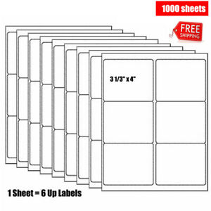 1000 Sheets 6 Up Shipping Labels For Laser Ink Jet 3 1 3 X 4 Strong Adhesive