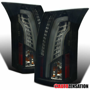 For 2003 2007 Cadillac Cts Led Drl Bar Glossy Black Dark Smoke Tail Lights Lamps