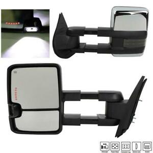 Left right Side View Tow Mirrors For 07 13 Sierra Power Heated Cle