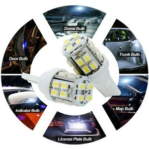100 X White Led T10 20smd 194 168 W5w Interior Map Dome Trunk Plate Light Bulb