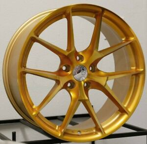 20x10 5 Aodhan Ls007 Gold Machined Wheels 5x112 35 Rims 20 Inch Set 4