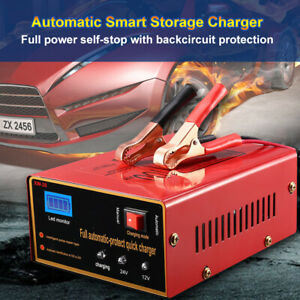 Car Motorcycle Truck Lead Acid Battery Charger Full Automatically 12v 24v 140w