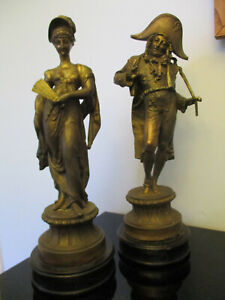 Pair Antique French Napoleon Marie Antoinette Spelter Bronzed Statues Sculptures