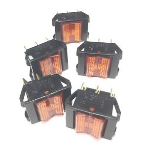Unbranded generic Amber Illuminated Rocker Switch Rtl80x1 lot Of 5 Nos