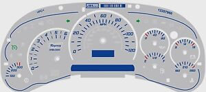 Gmc Chevy Truck Blue Cluster Face Trans Temp Gauge Regency Rst Logo 03 04 05 06