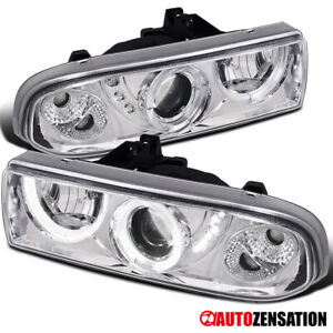 For 1998 2004 Chevy S10 Blazer Clear Led Halo Rims Projector Headlights Lamps