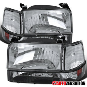 92 96 Ford F150 F250 F350 Bronco Style Clear Headlights Bumper Corner Light Pair