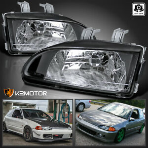 For 1992 1995 Civic Eg Ej Black Replacement Headlights Head Lamps Left Right