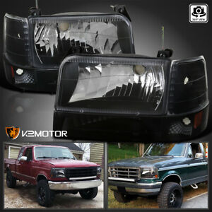 Fits 1992 1996 Ford Bronco F150 F250 F350 Black Headlights bumper corner Lamps
