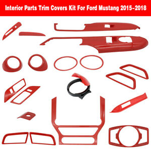 12x Full Car Interior Accessories Decoration Trim Kit For 15 19 Ford Mustang Red