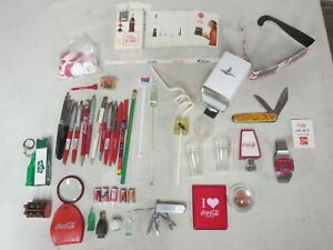 LARGE LOT OF COCA COLA ITEMS 1960'S CARDS, JEWLERY LOOP, KNIFE,PENS SO MUCH MORE
